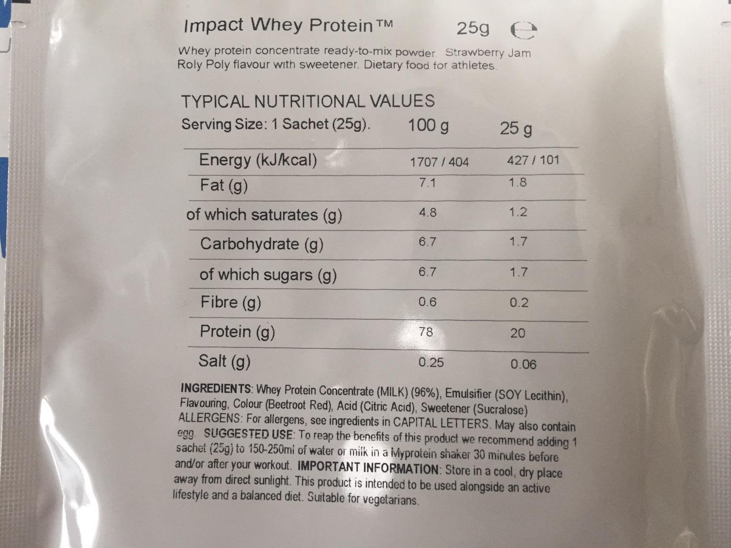 マイプロテインのImpactホエイプロテイン「Strawberry jam Roly Poly(ストロベリージャム・ローリー・ポーリー味)」の成分表