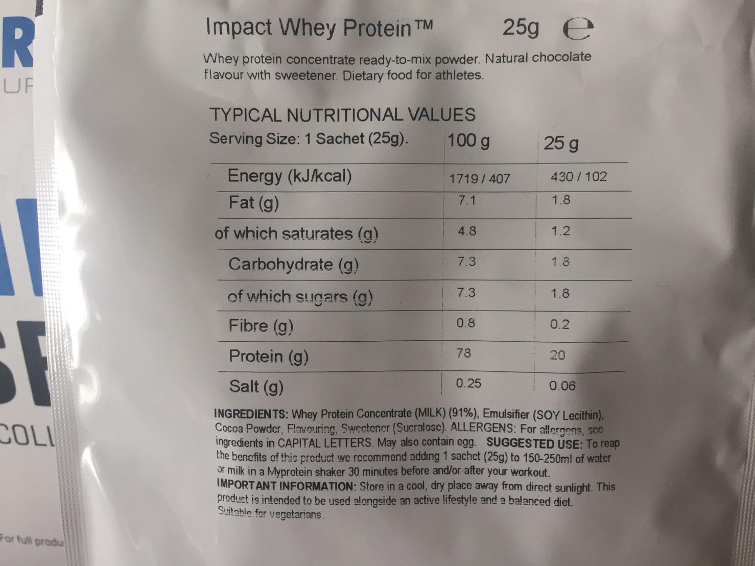 【WPC】Impactホエイプロテイン「Natural Chocolate(ナチュラルチョコレート味)」の成分表
