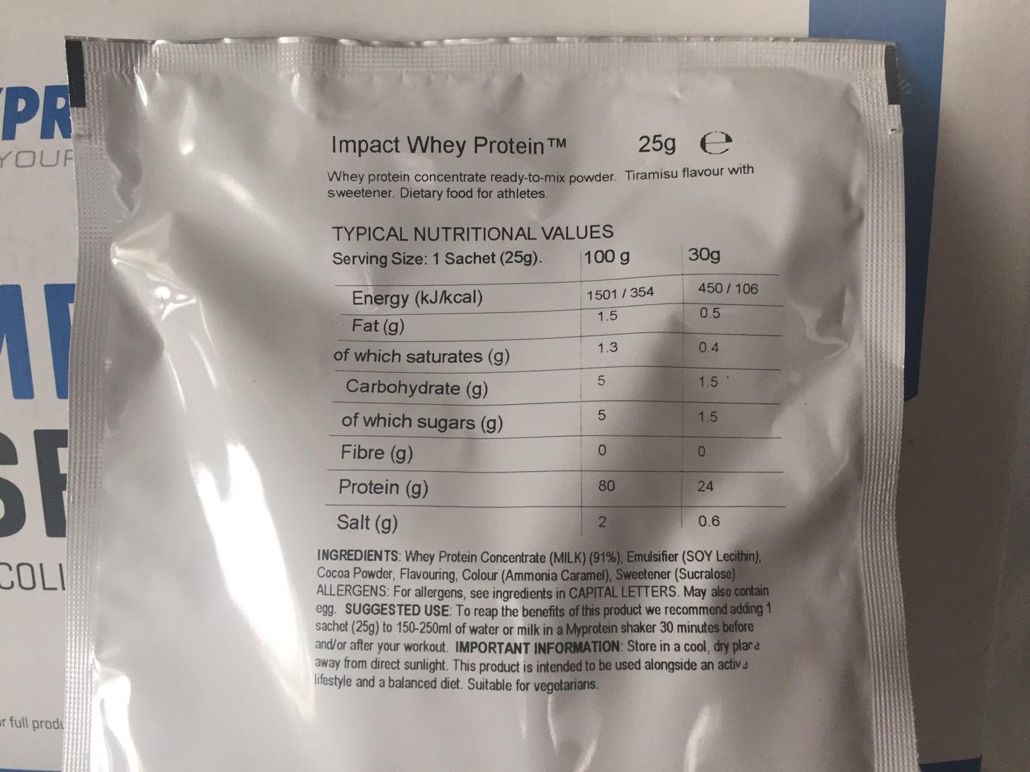 【WPC】Impactホエイプロテイン「Tiramisu(ティラミス味)」の成分表