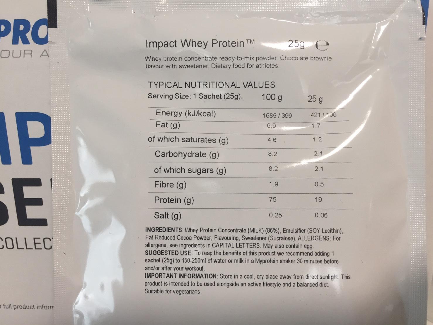 【WPC】Impactホエイプロテイン「Chocolate Brownie(チョコレートブラウニー味)」の成分表