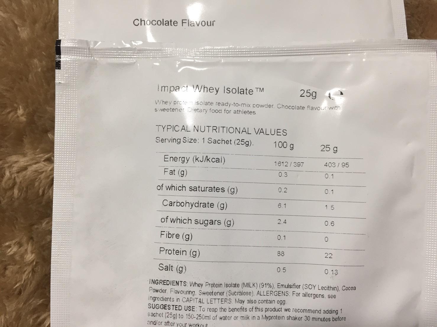【WPI】Impactホエイアイソレート「Chocolate Flavour(チョコレート味)」の成分表