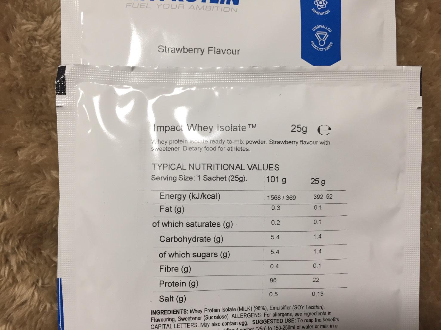 【WPI】Impactホエイアイソレート「Strawberry Flavour(ストロベリー味)」の成分表