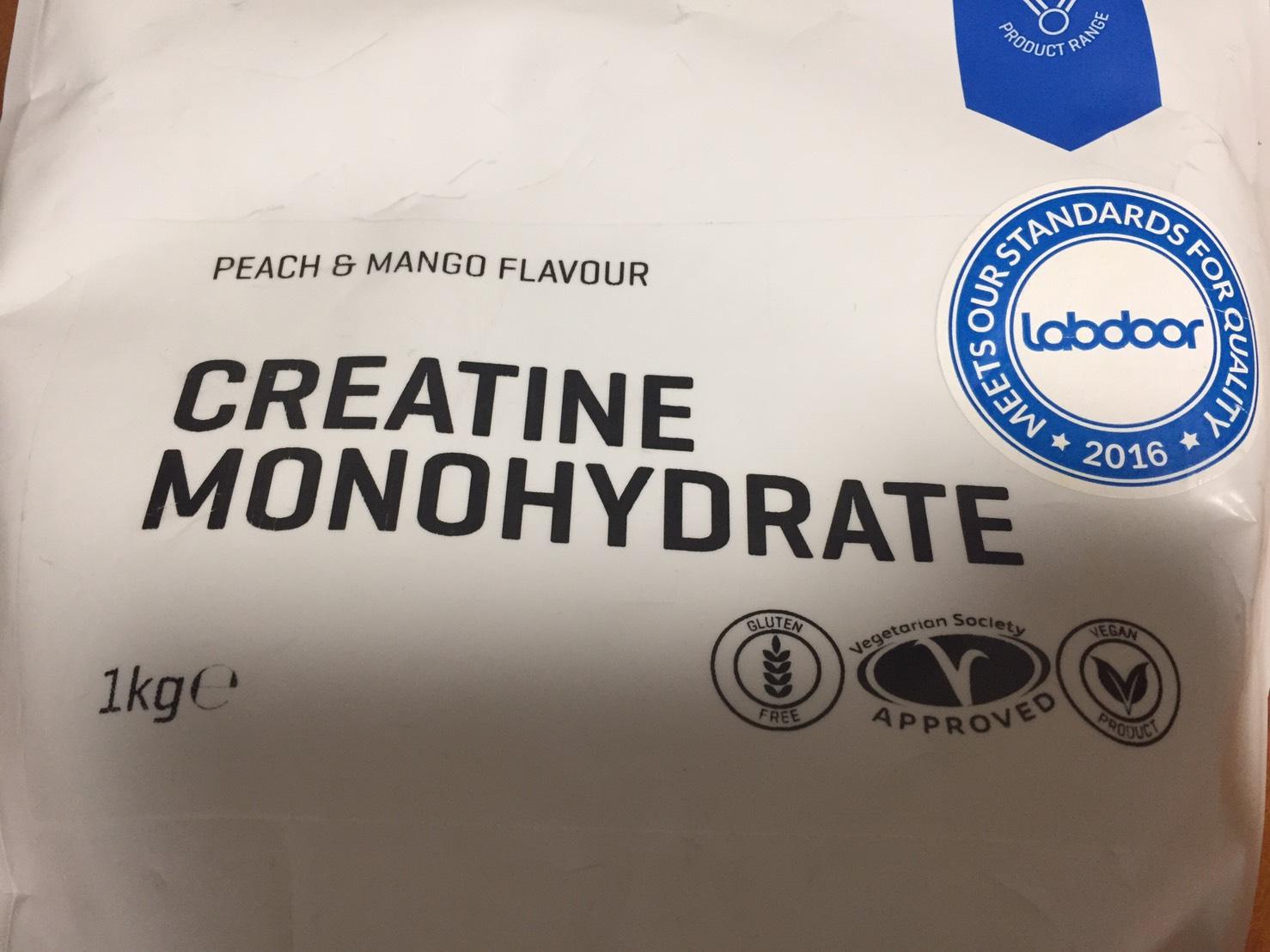 クレアチン一水和物粉末、ピーチマンゴー味のパッケージ