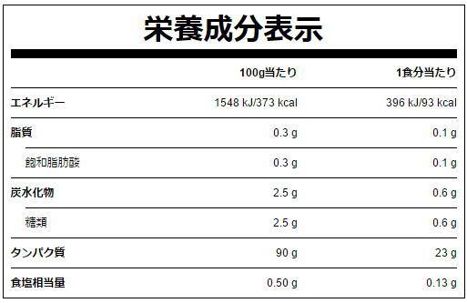 マイプロテイン公式HPにあるWPIノンフレーバーの成分表