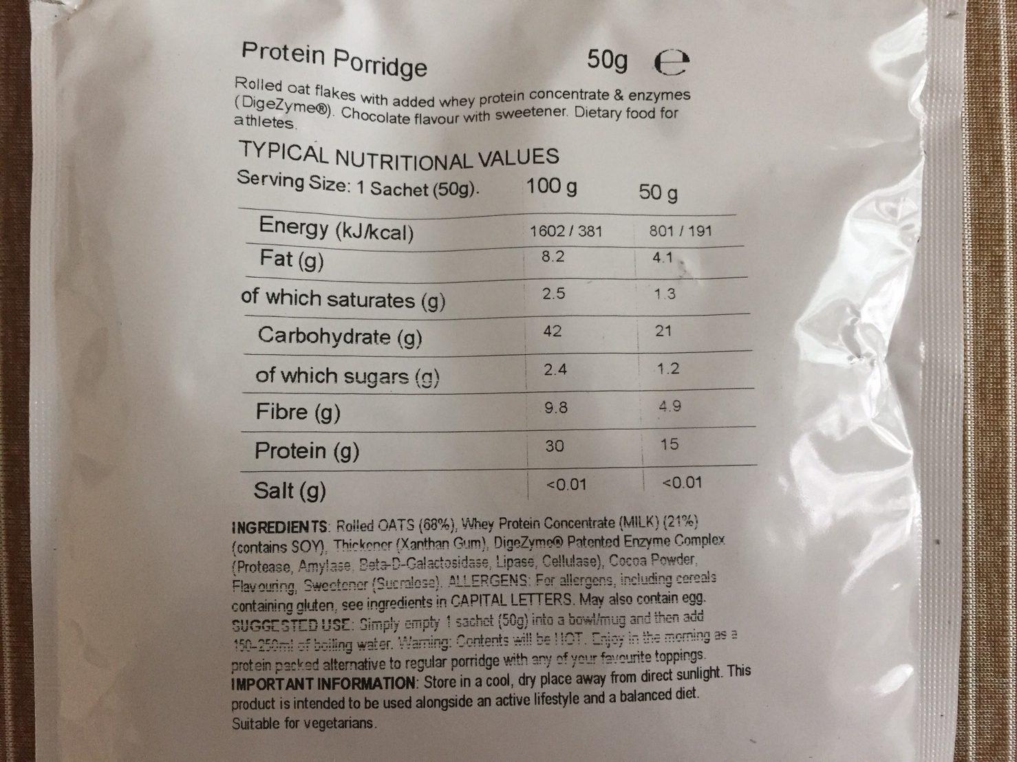 プロテインポリッジチョコレート味成分表