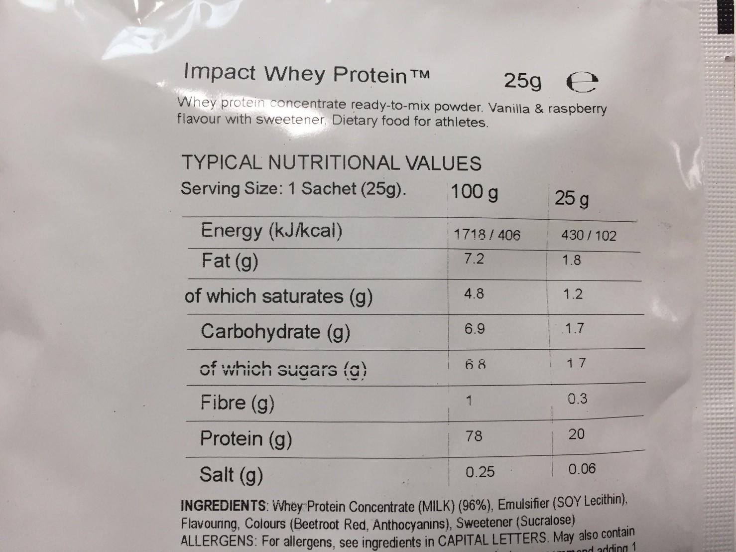 Vanilla&Raspberry(バニラ&ラズベリー味)の成分表