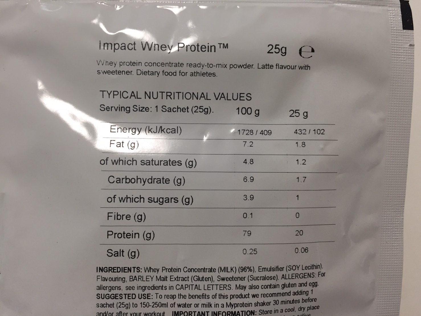 Latte(ラテ味)の成分表