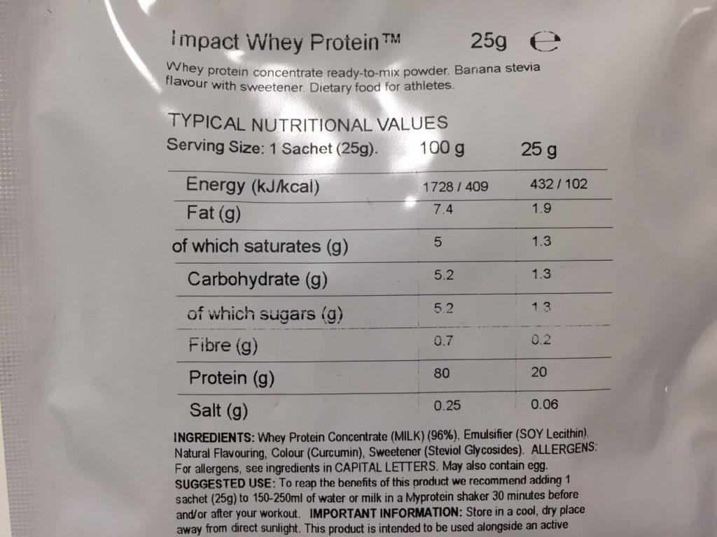 Banana Stevia Flavour(バナナステビア味)の成分表
