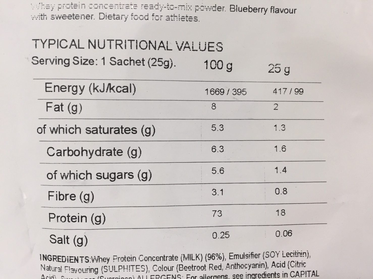 Blueberry Flavour(ブルーベリー味)の成分表