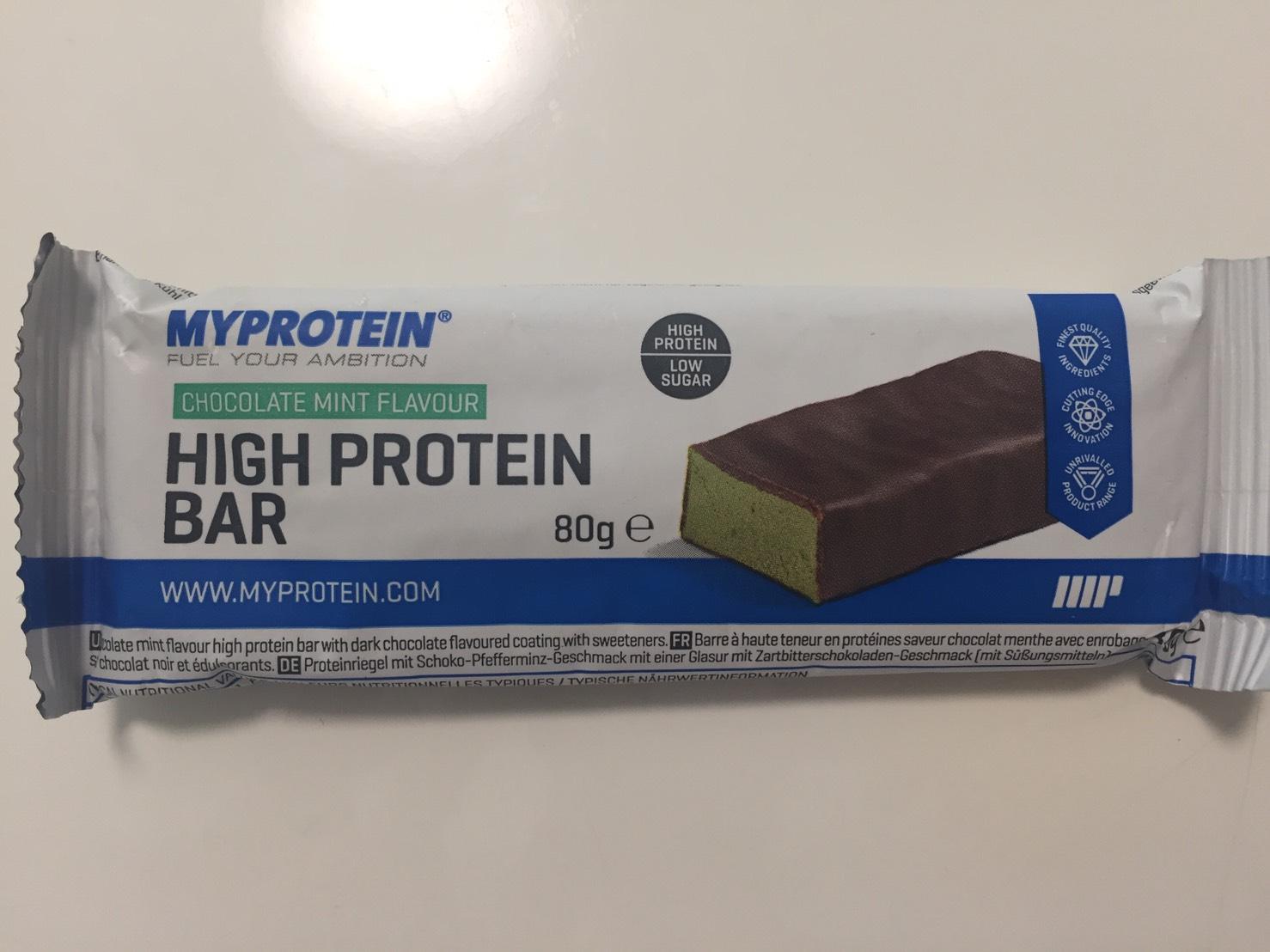 ハイプロテインバー(High Protein Bar)「CHOCOLATE MINT FLAVOUR(チョコミント味)」の成分表