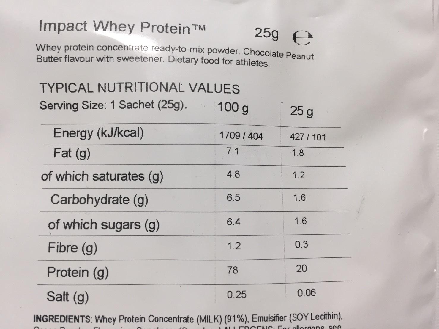 Chocolate Peanut Butter Flavour(チョコレートピーナッツバター味)の成分表