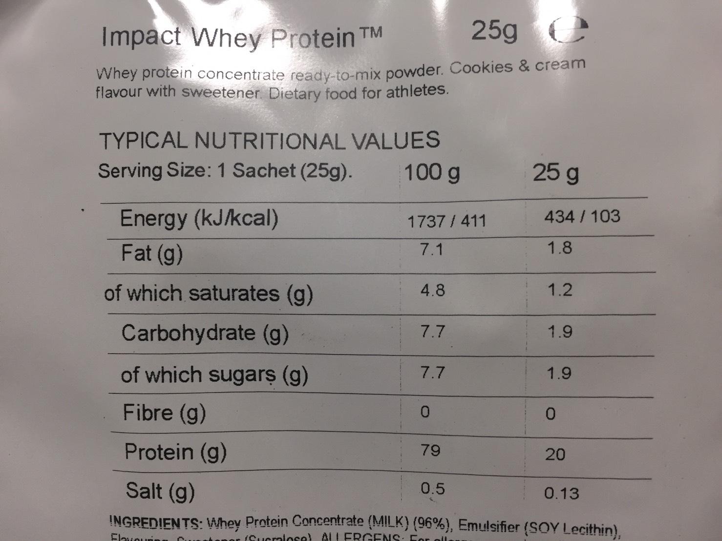 Cookies&Cream Flavour(クッキー&クリーム味)の成分表