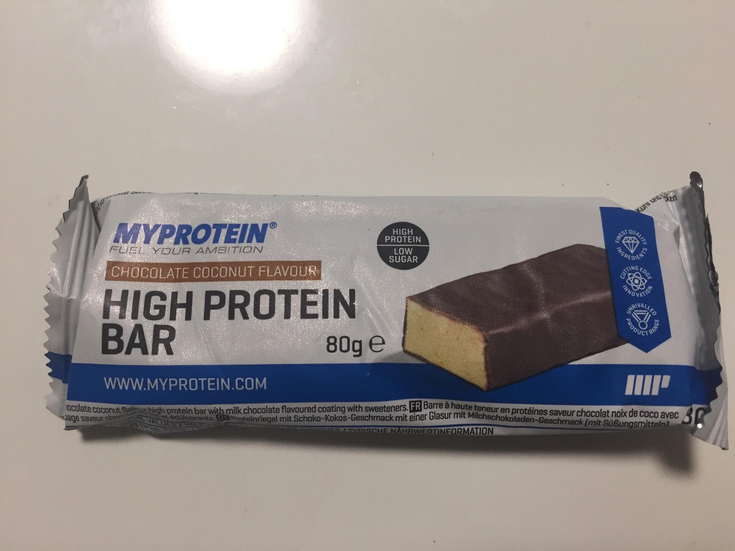 ハイプロテインバー(High Protein Bar)「CHOCOLATE COCONUT FLAVOUR(チョコレートココナッツ味)」の成分表