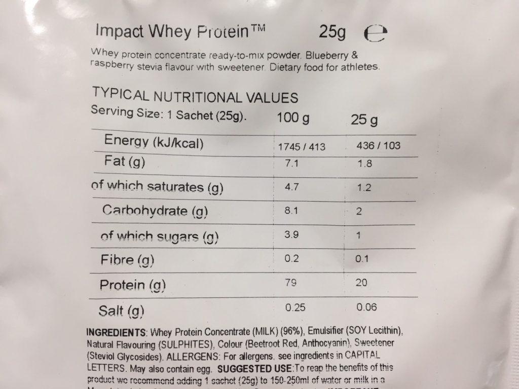 Blueberry & Raspberry Stevia Flavour(ブルーベリー&ラズベリー ステビア味)の成分表