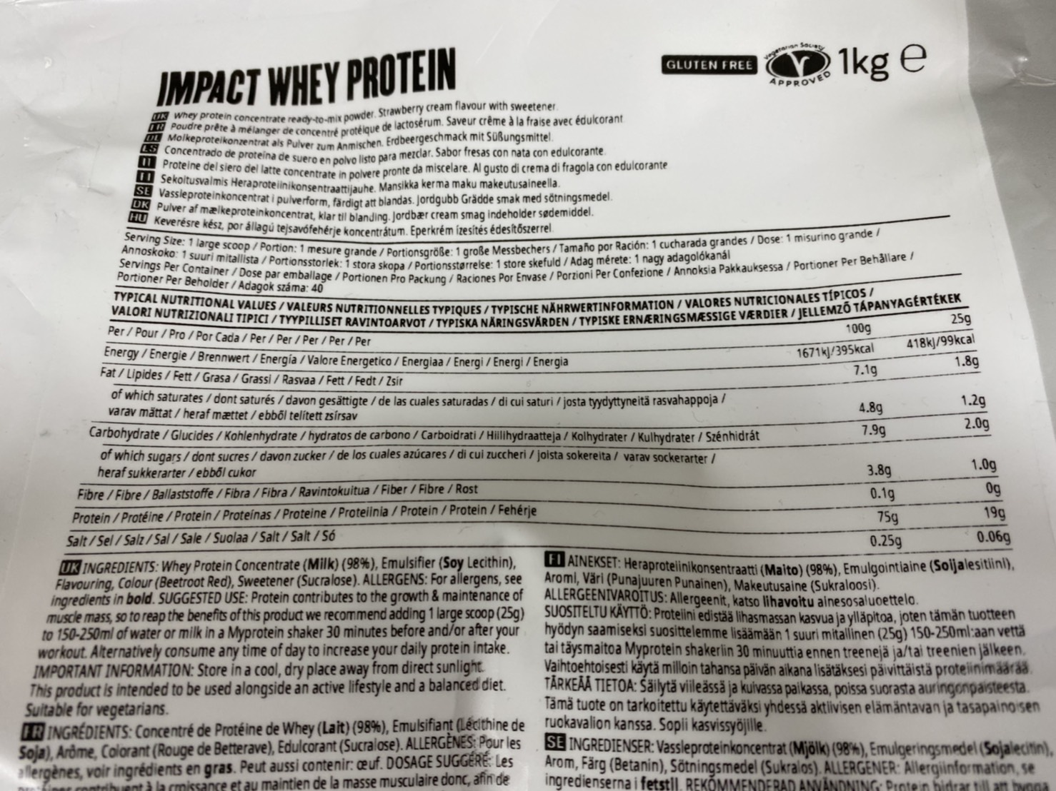 マイプロテインImpactホエイプロテイン:ストロベリークリーム味の成分表