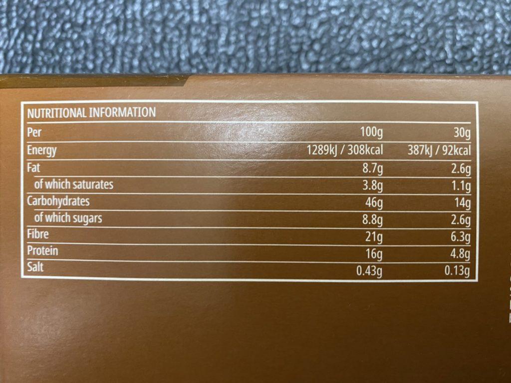 プロテインシリアルバーの成分表