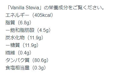 Vanilla Stevia Flavour(バニラステビア味)の成分表