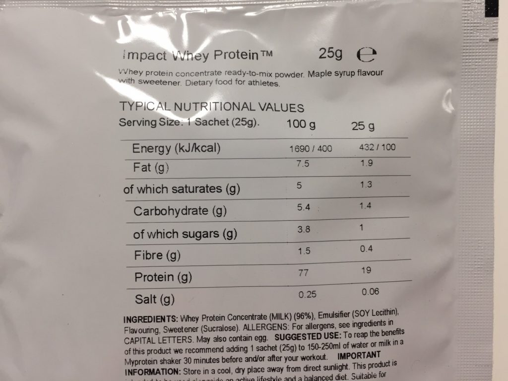 Maple Syrup Flavour(メープルシロップ味)の成分表