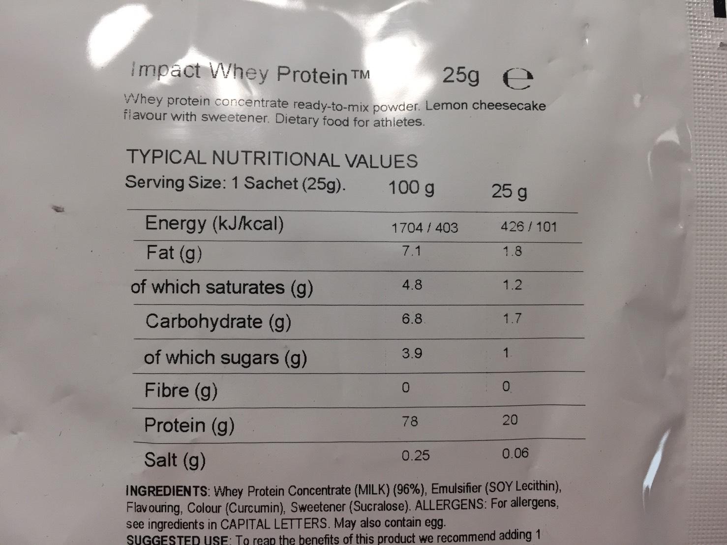 Lemon Cheesecake Flavour(レモンチーズケーキ味)の成分表
