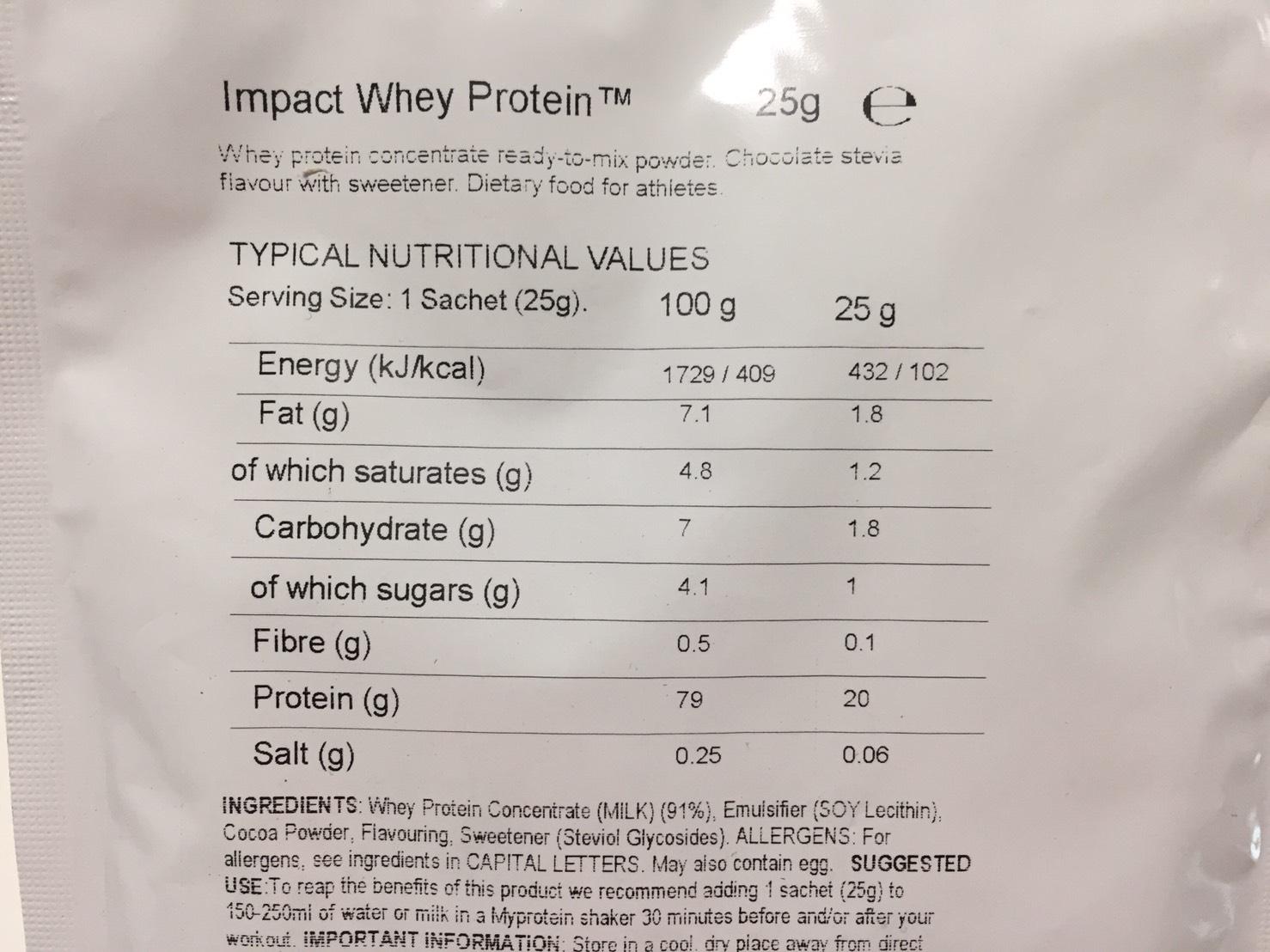 Chocolate Stevia Flavour(チョコレートステビア味)の成分表