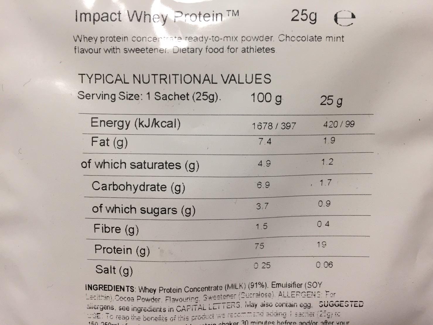 Chocolate Mint Flavour(チョコレートミント味)の成分表