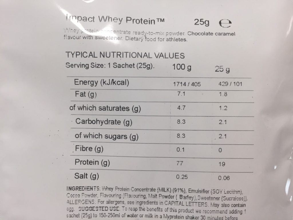 Chocolate Caramel Flavour(チョコレートキャラメル味)の成分表