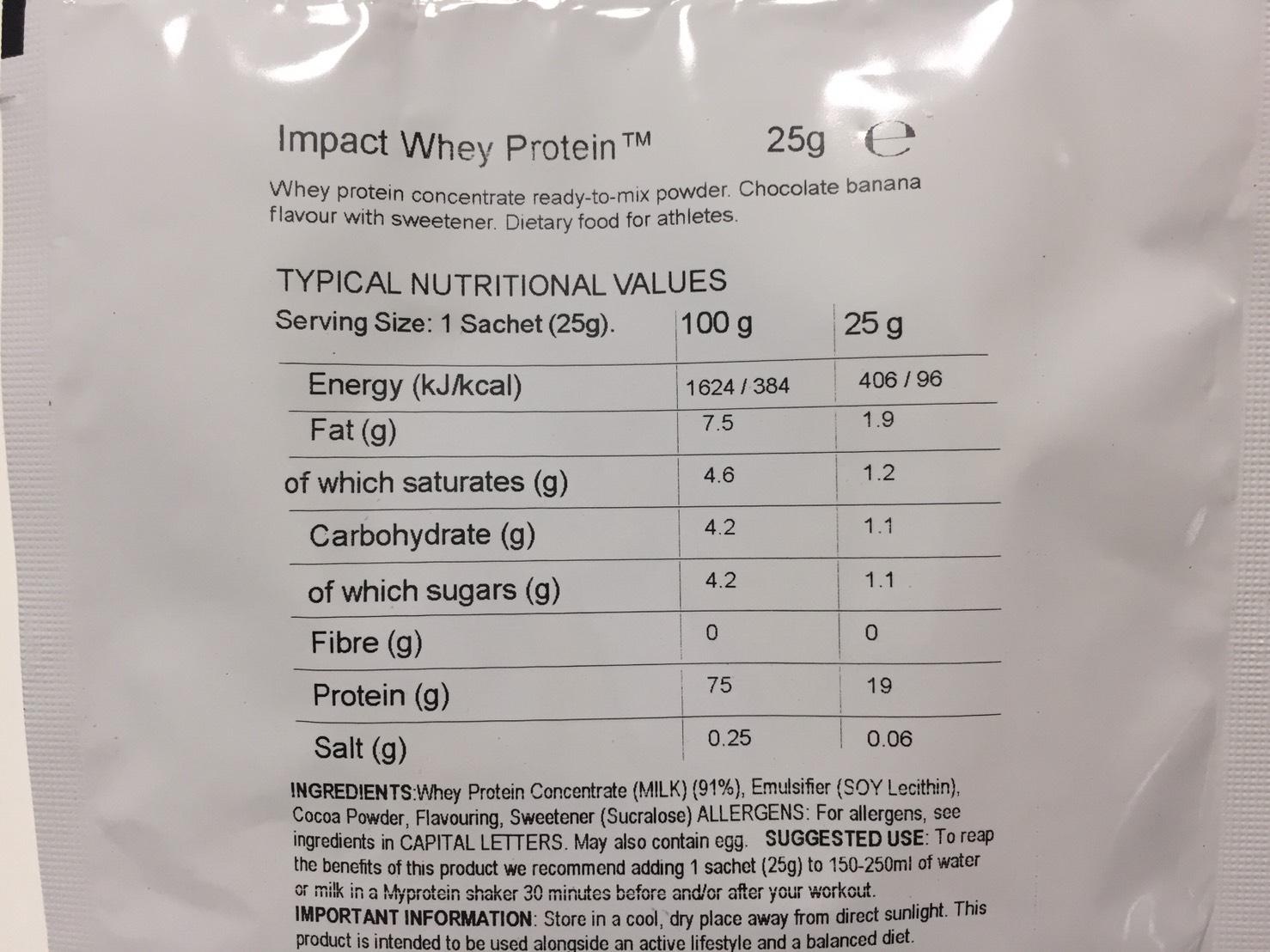 Chocolate Banana Flavour(チョコレートバナナ味)の成分表