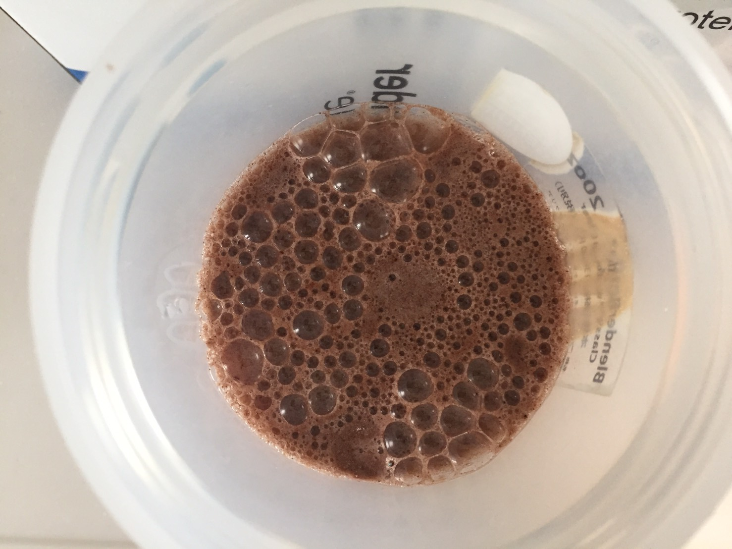 Chocolate Banana Flavour(チョコレートバナナ味)に水を注いだ様子
