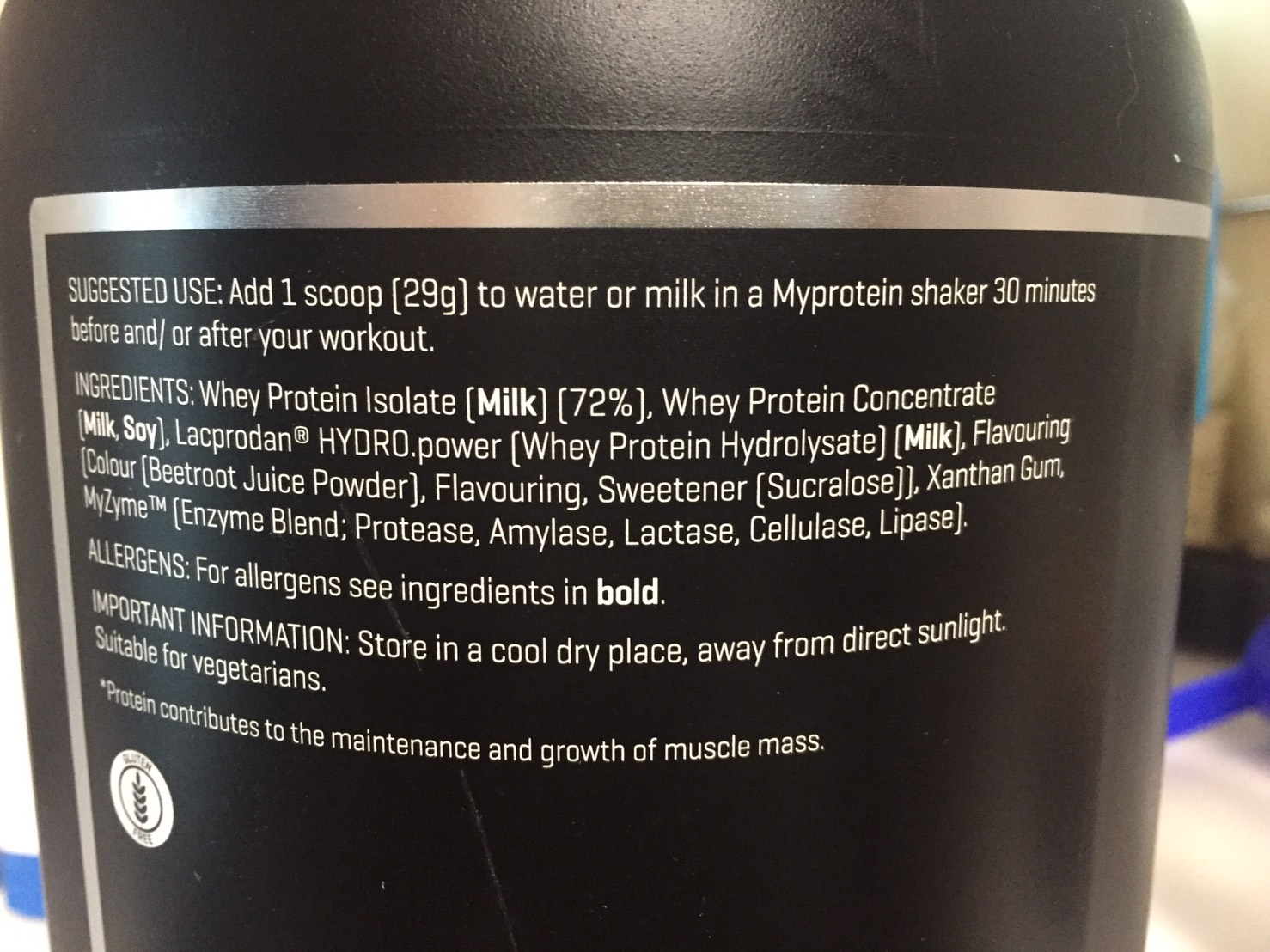 「THEWHEY」のSTRAWBERRY MILKSHAKE FALVOUR(ストロベリーミルクシェイク味)の成分表