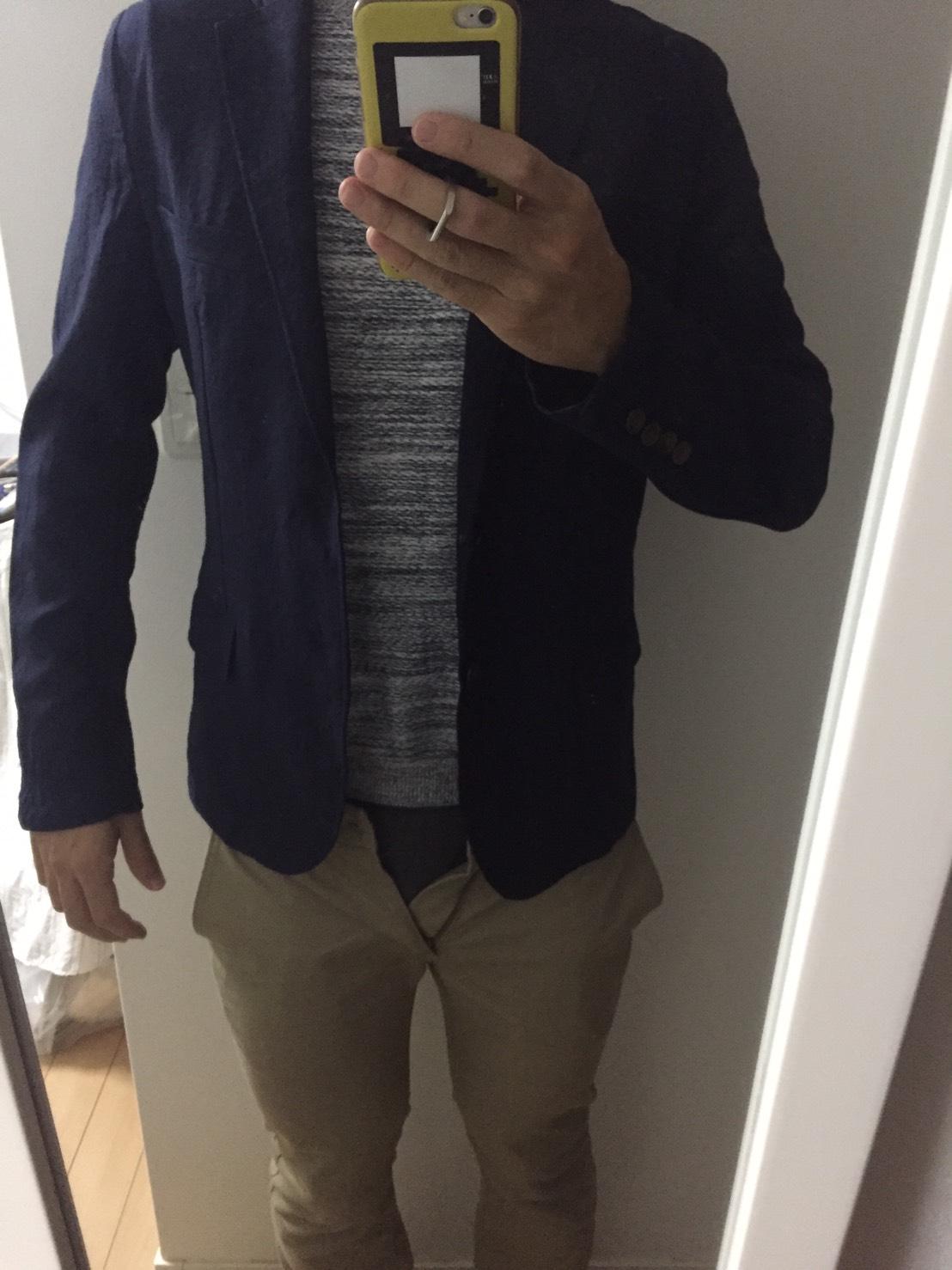 ジャケットを着た様子