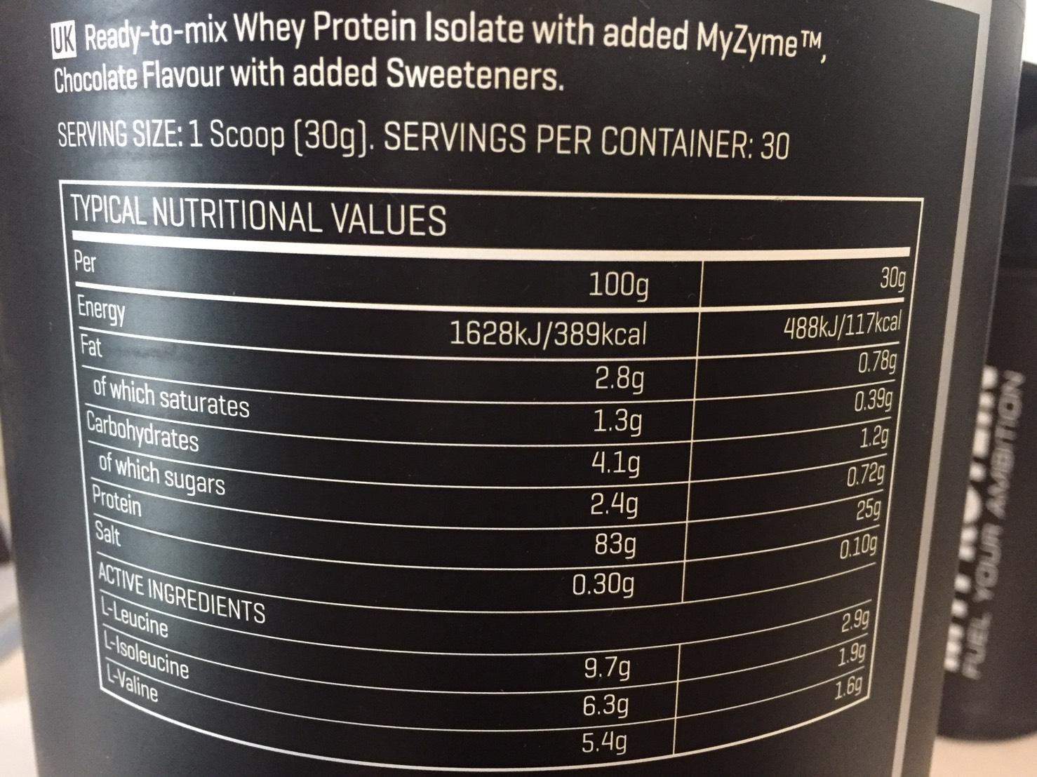 THEWHEY「DECADENT MILK CHOCOLATE FALVOUR(ミルクチョコレート味)」の成分表