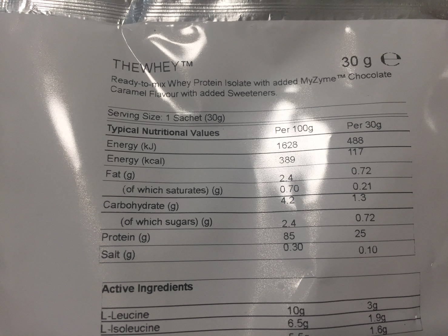 マイプロテイン「THEWHEY」チョコレートキャラメル味の成分表