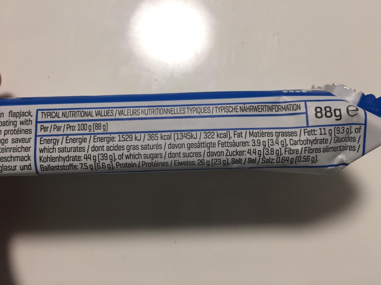 OATS & WHEY FLAPJACK(オーツ & ホエイ)塩キャラメル味の成分表