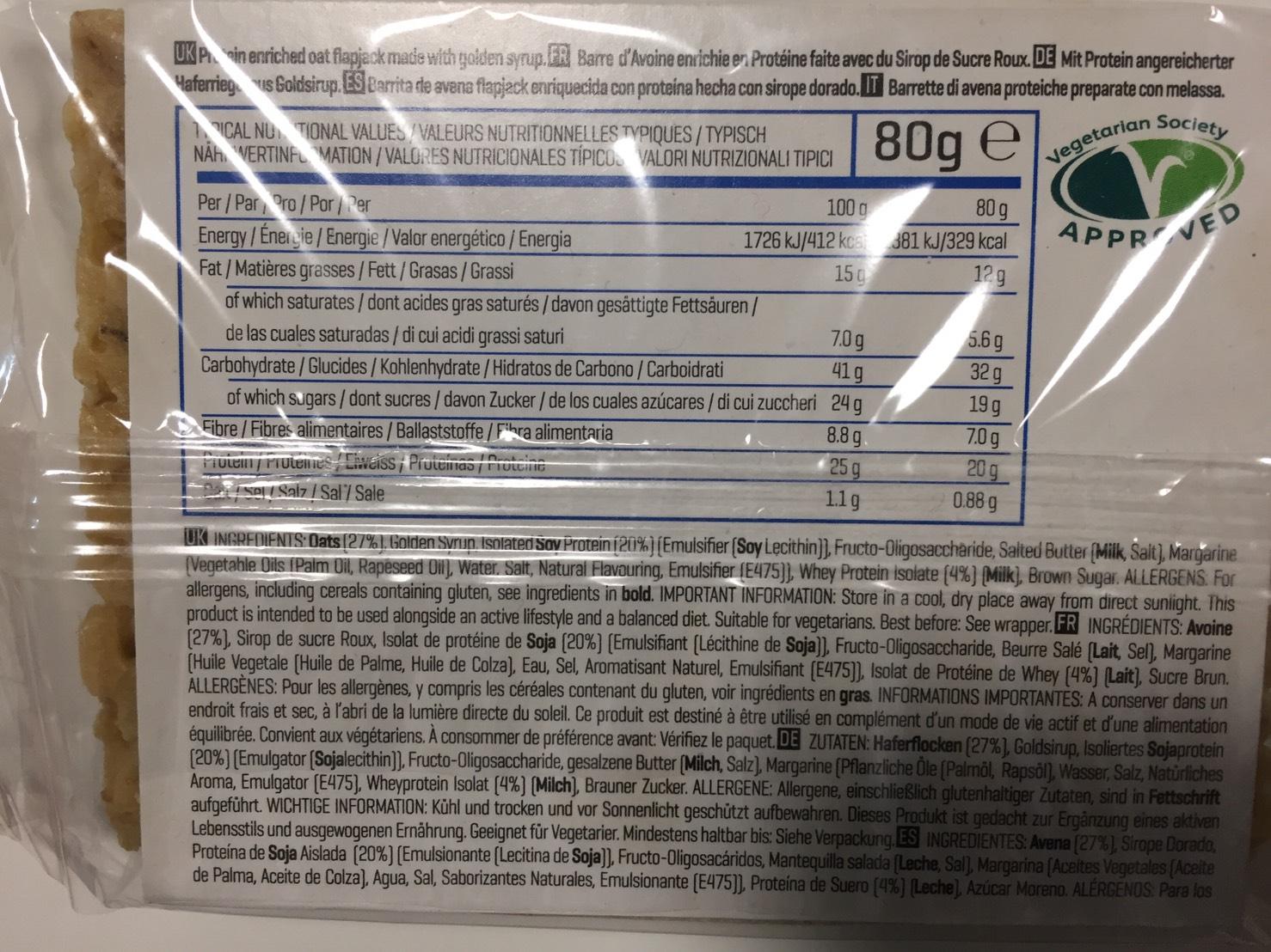 プロテインフラップジャック「TRADITONAL OAT FLAVOUR(オーツ麦味)」の成分表
