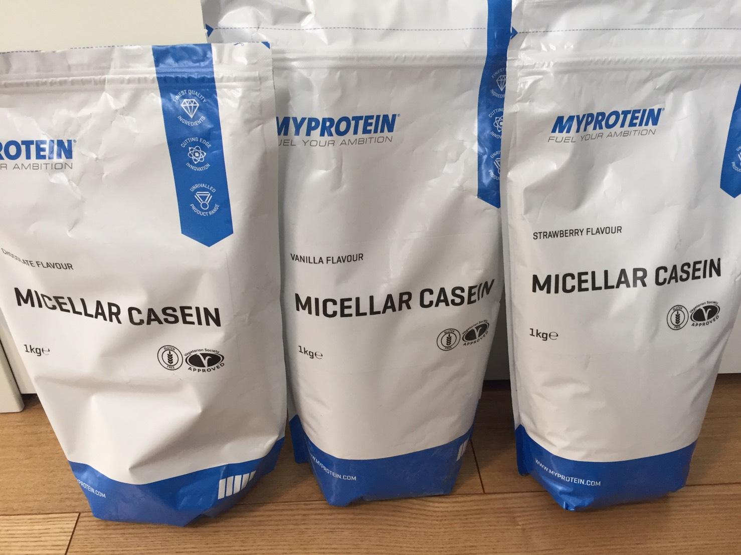マイプロテインの「カゼインミセル」の成分表まとめ。就寝前に飲むプロテインと言われているが…