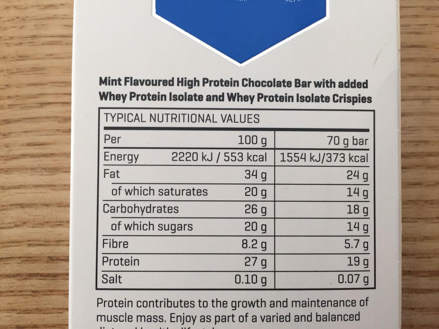 ハイプロテインチョコレート「チョコミント味」の成分表
