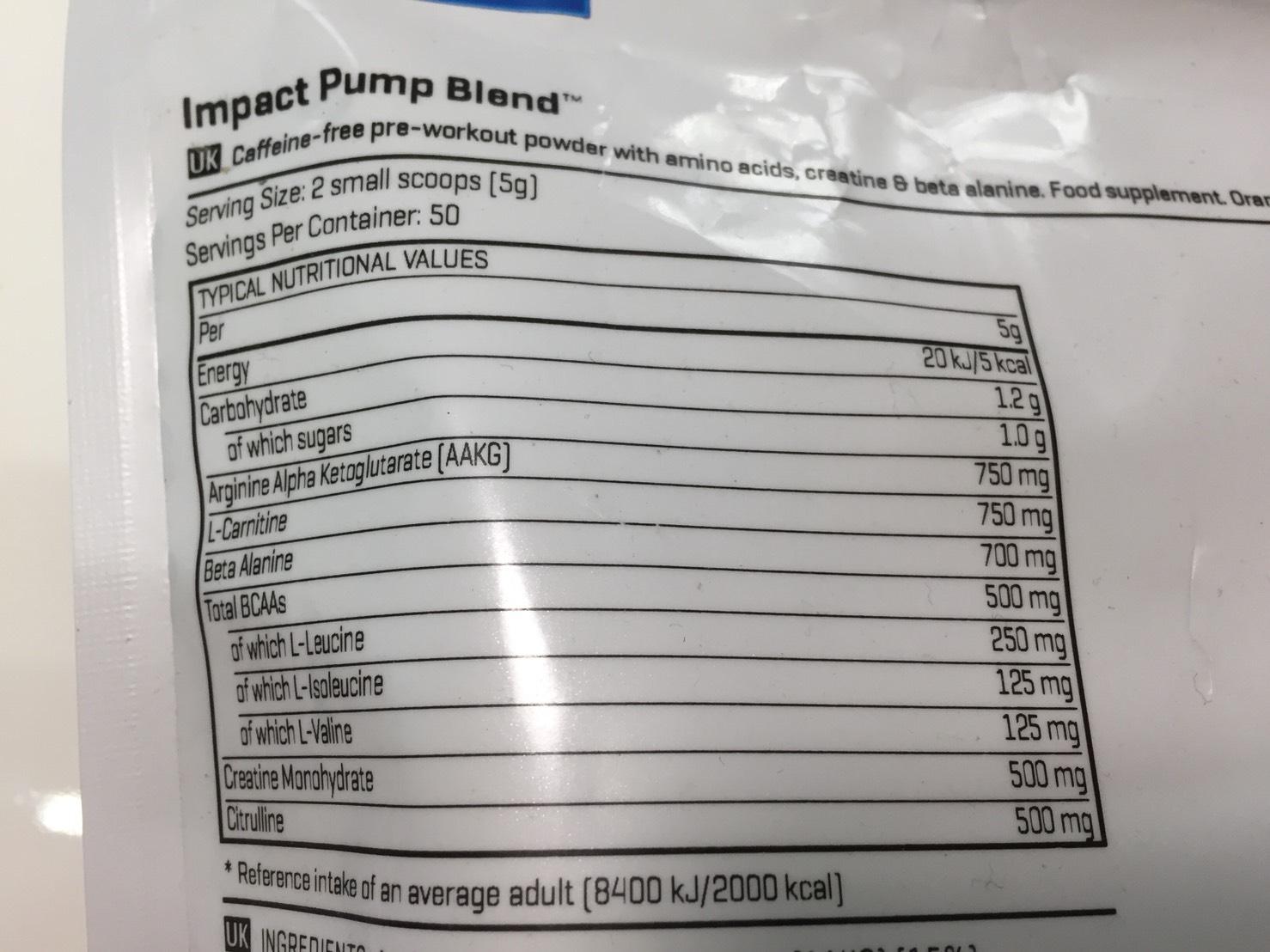 IMPACTパンプブレンド「ORANGE FLAVOUR(オレンジ味)」の成分表