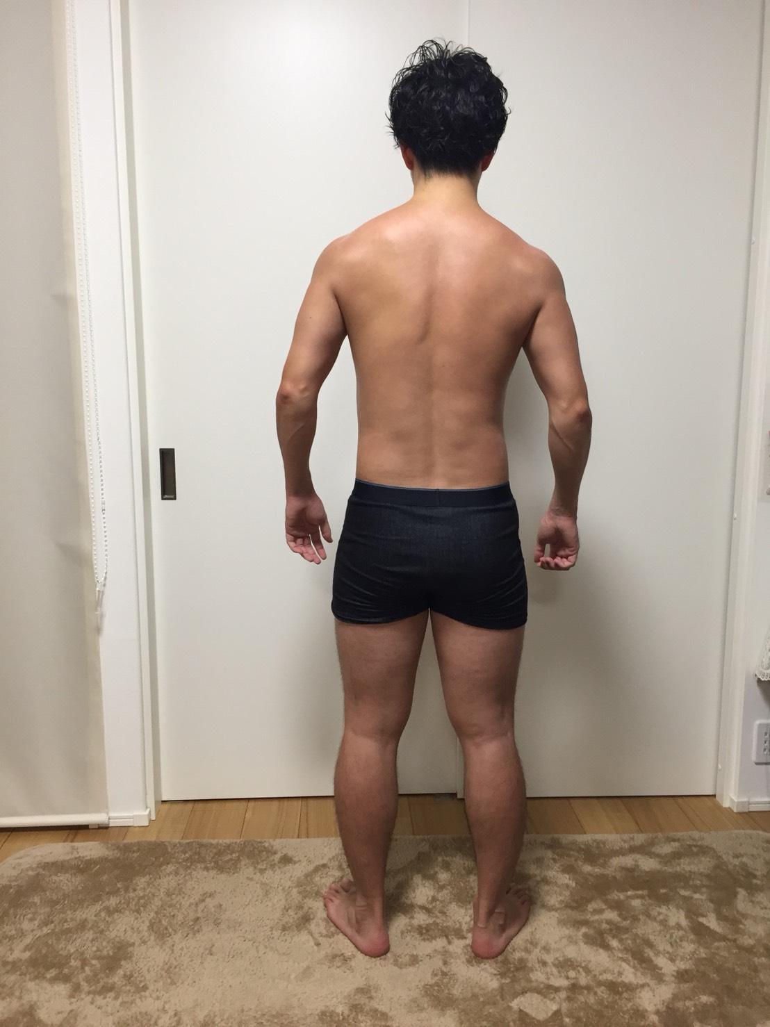 2018年4月18日:体重:78.95kg 体脂肪率:15.9%(スタートからの減り幅は体重:-2.4kg、体脂肪率:-1.4%)の背面の様子