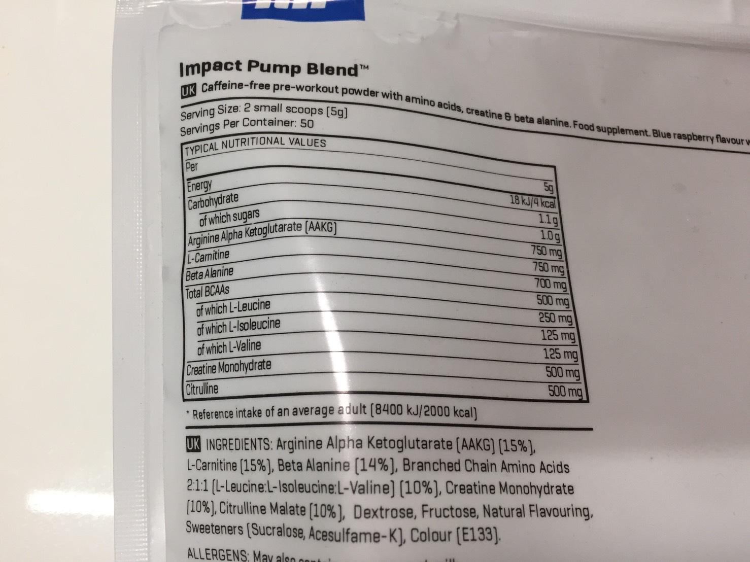 IMPACTパンプブレンド「BLUE RASPBERRY FLAVOUR(ブルーラズベリー味)」の成分表