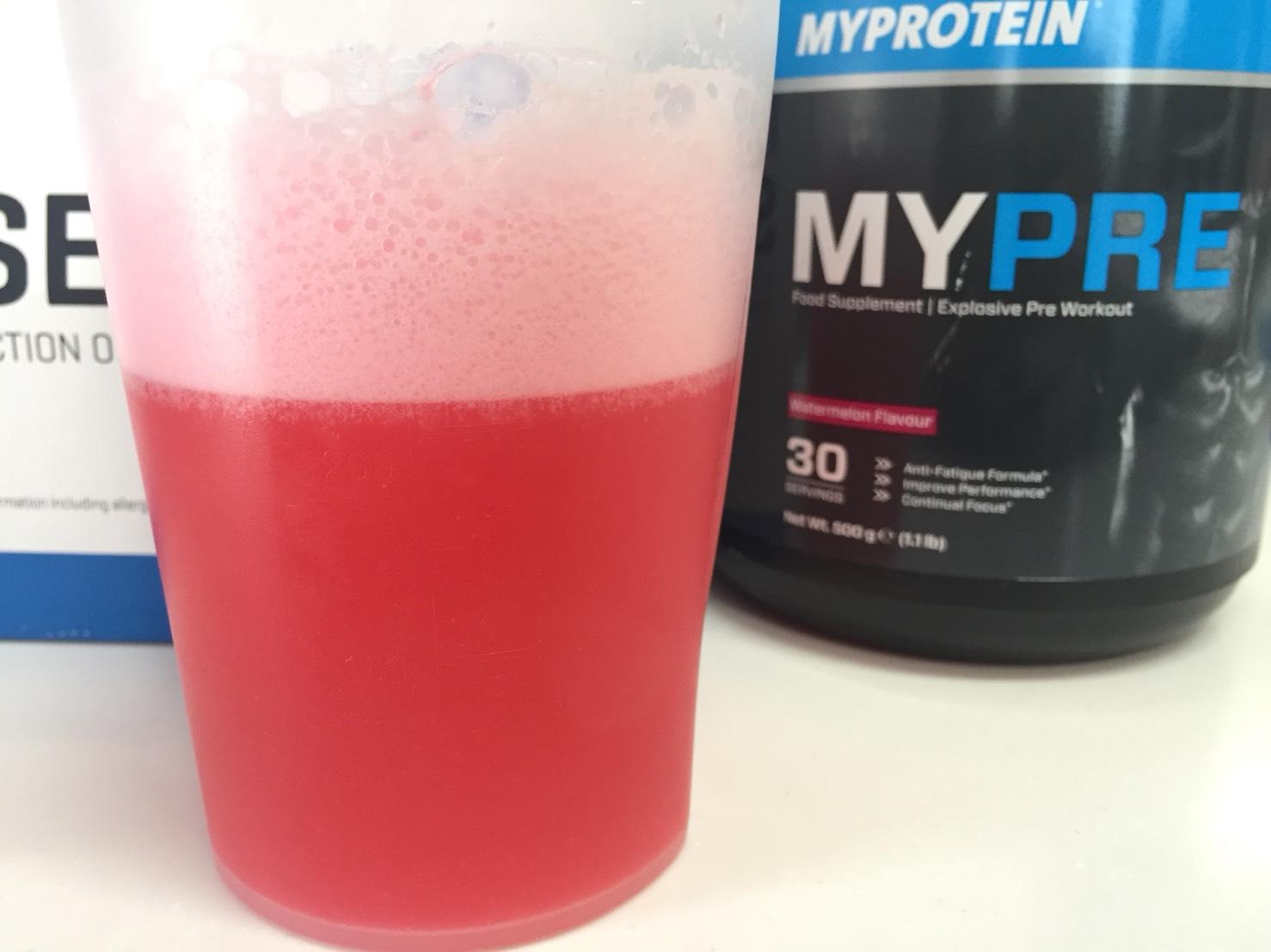 MYPRE(マイプレ)「Watermelon Flavour(ウォーターメロン味=スイカ味)」を横から撮影した様子がこちら。