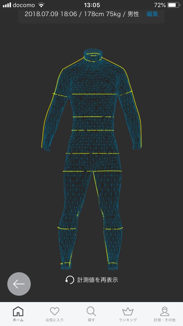 ZOZOスーツで計測したモデル