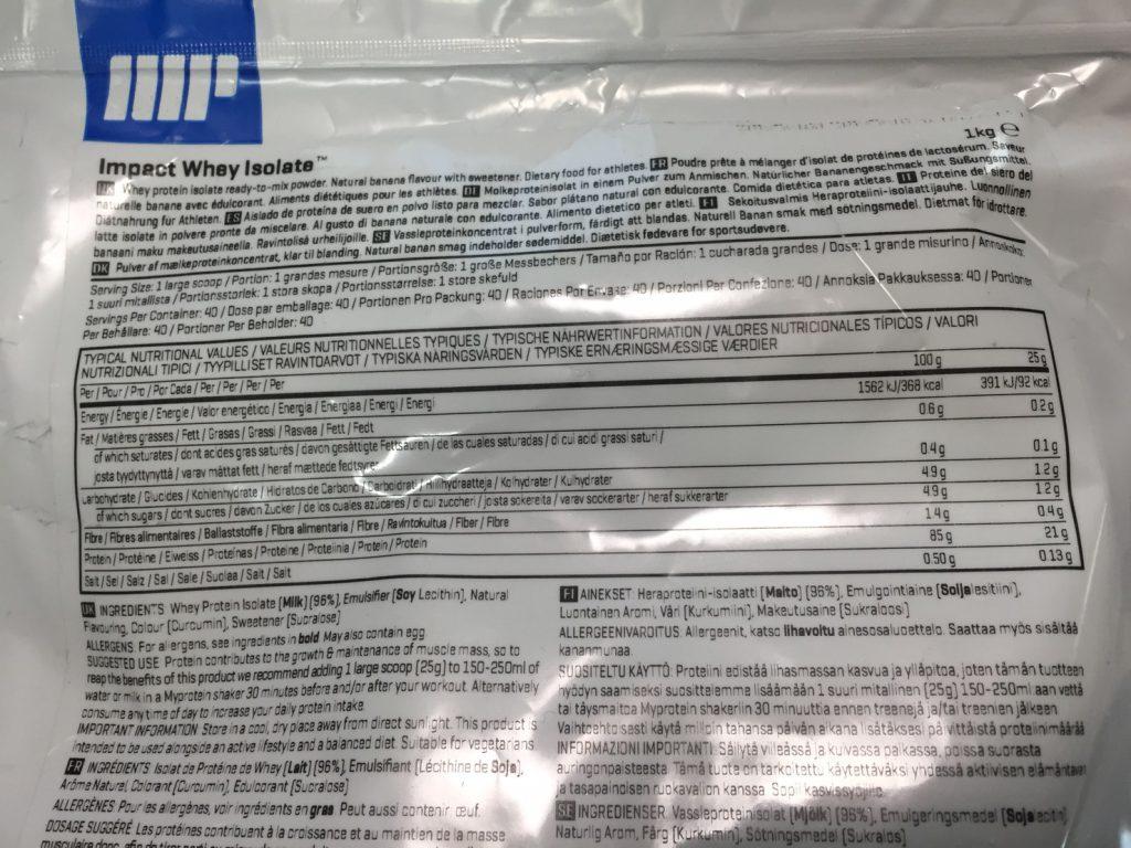 【WPI】Impactホエイアイソレート「NATURAL BANANA FLAVOUR(ナチュラルバナナ味)」の成分表