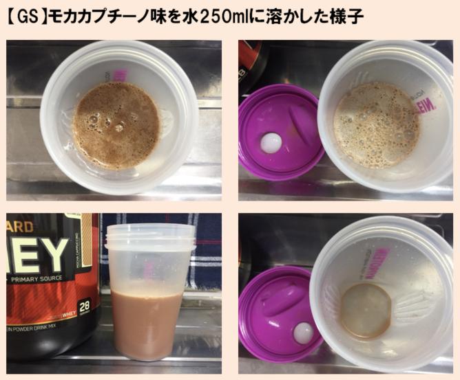 ゴールドスタンダード「モカカプチーノ味」を250mlの水で溶かした場合