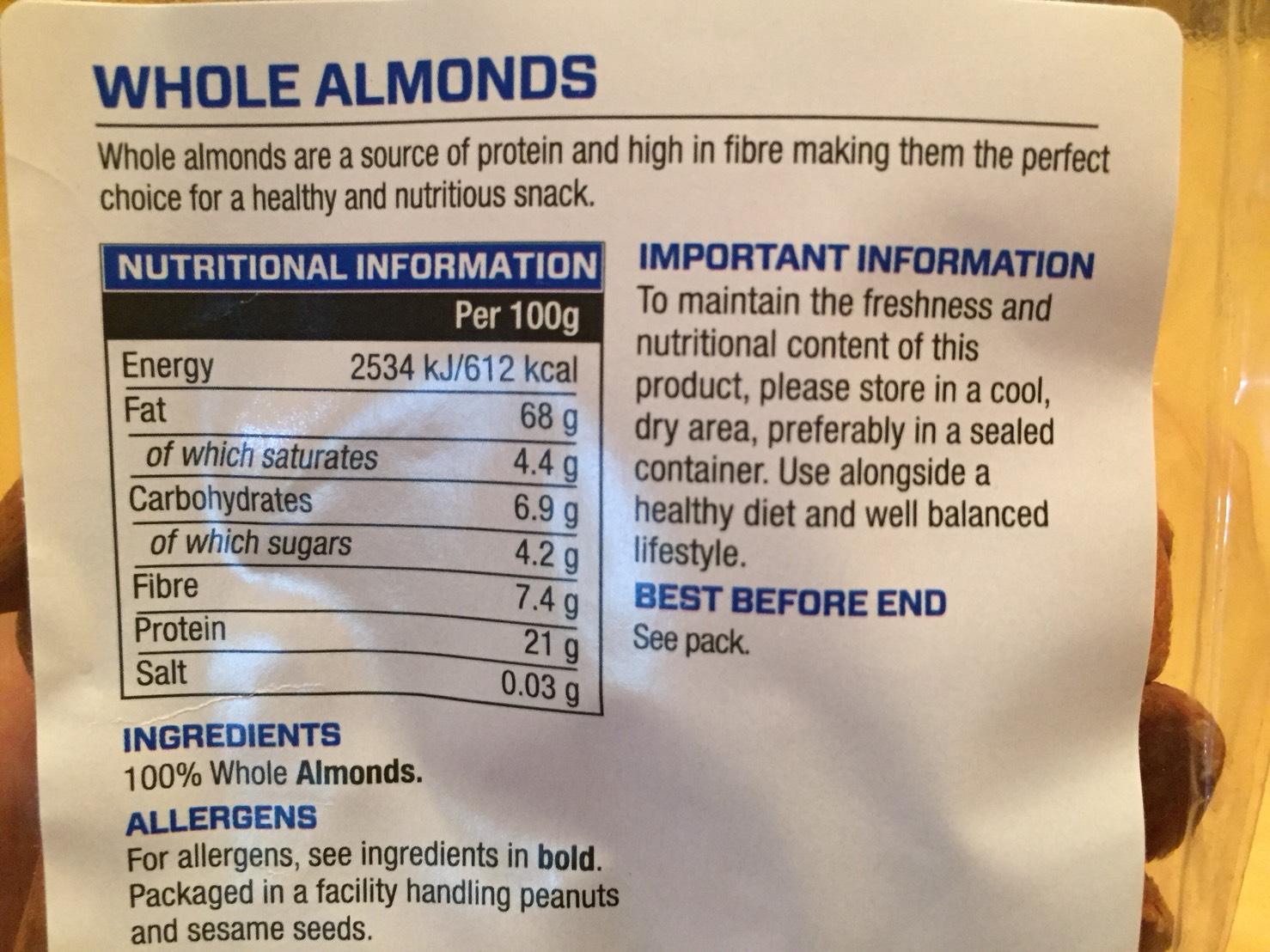 マイプロテインのアーモンドの成分表