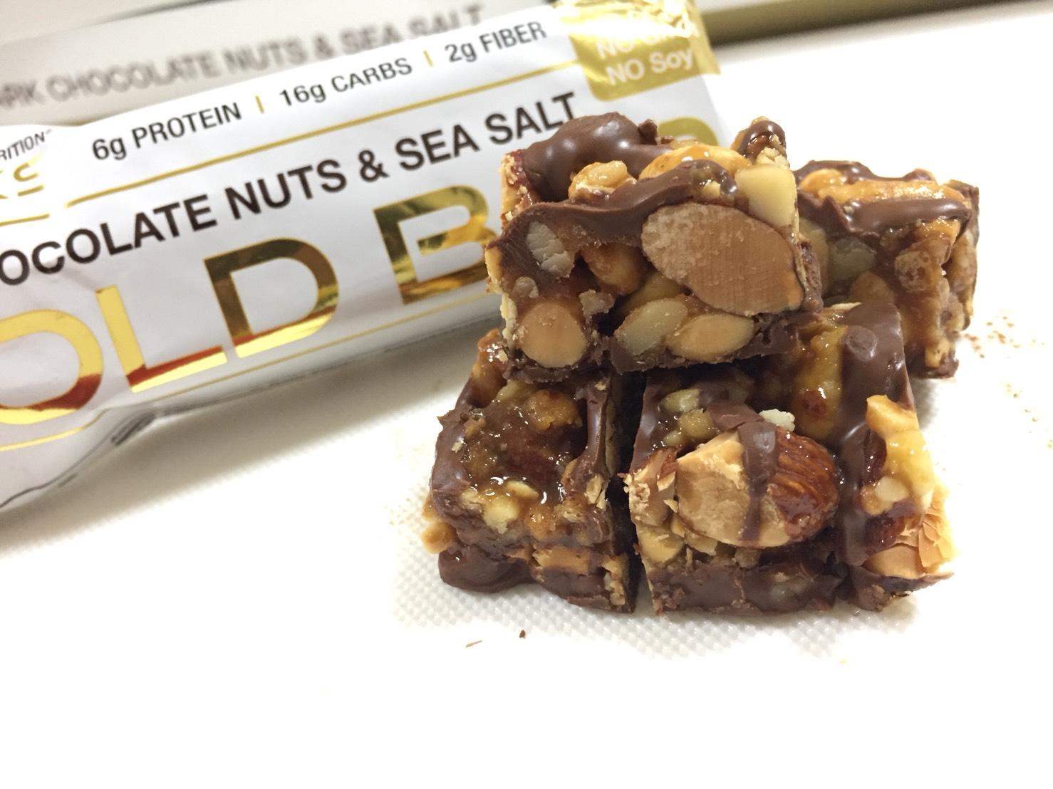 ダークチョコレートナッツ&シーソルト味の断面の様子