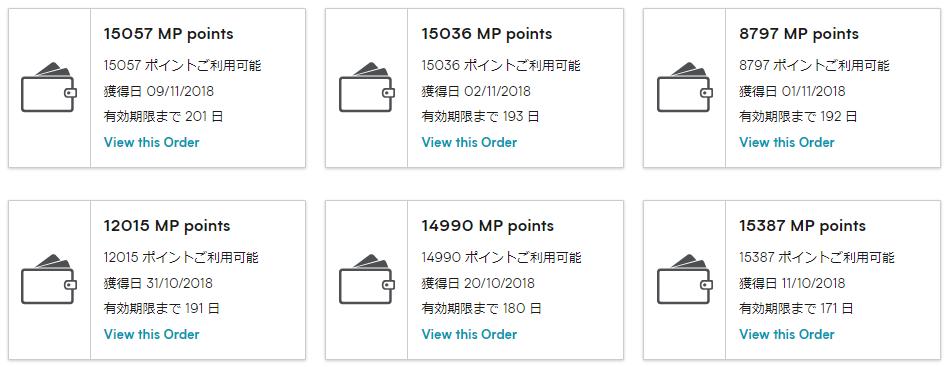 MPポイントの有効期限は12カ月です。