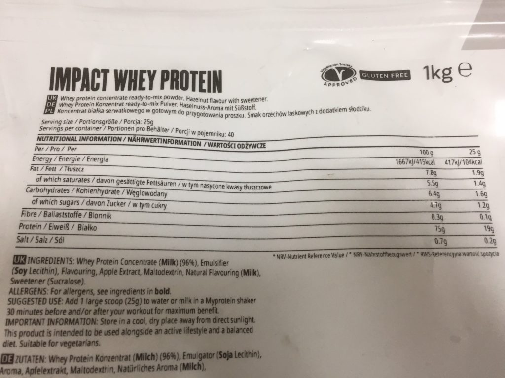 Impactホエイプロテインヘーゼルナッツ味の成分表