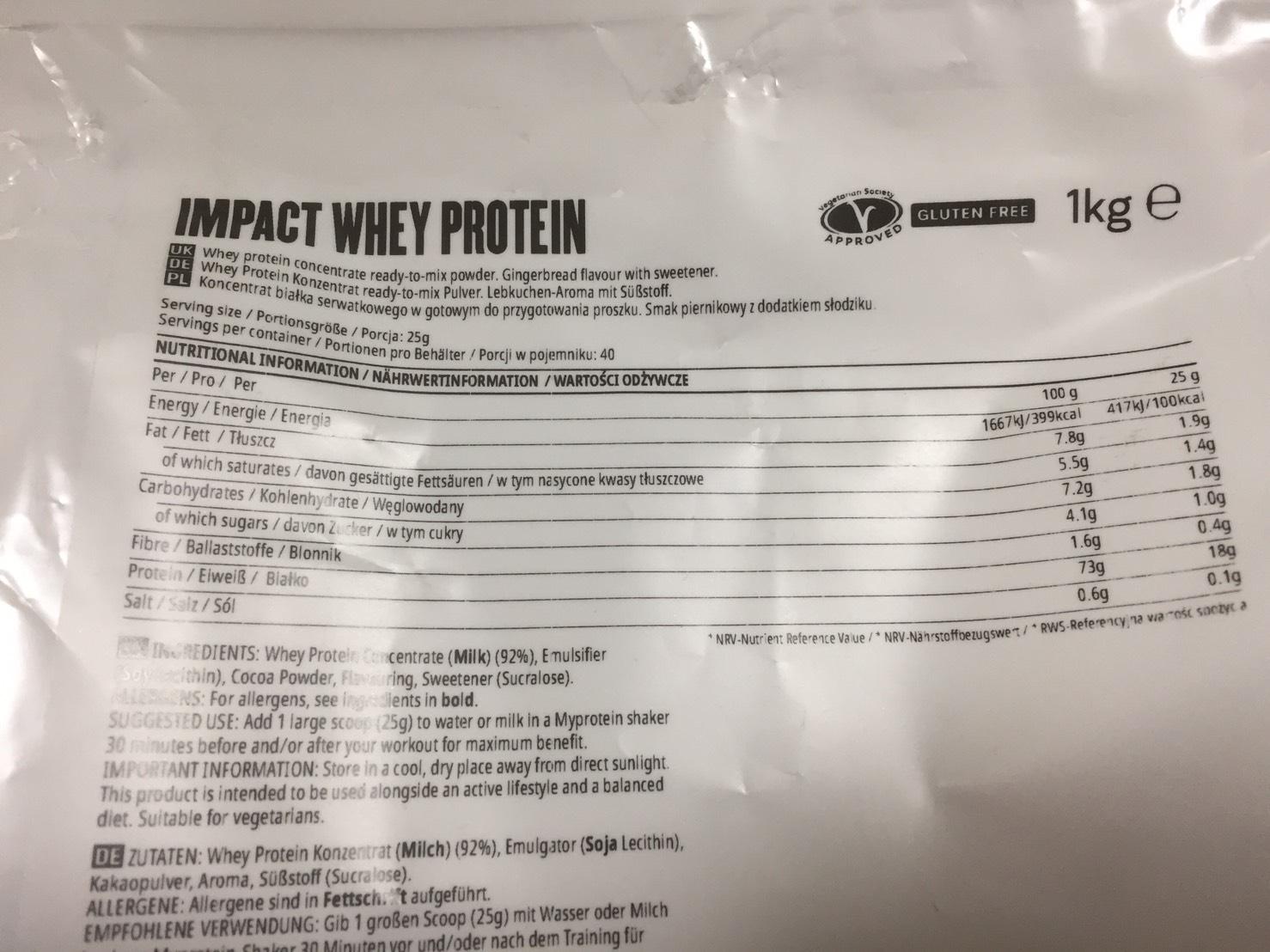 【WPC】Impactホエイプロテイン「レープクーヘン味」・「ジンジャーブレッド味」の成分表