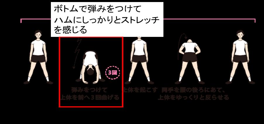 ラジオ体操の「体を前後に曲げる運動」