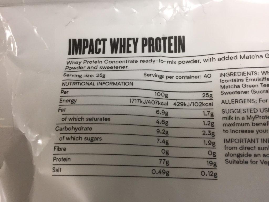 Impactホエイプロテイン:抹茶ラテ味の成分表